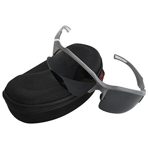 Protezione professionale polarizzati ciclismo occhiali occhiali sportivi occhiali da sole con lenti polarizzate, occhiali da sole sportivi con telaio infrangibile per guida baseball running cycling fishing golf, grey & white, 5.8inch*1.6inch
