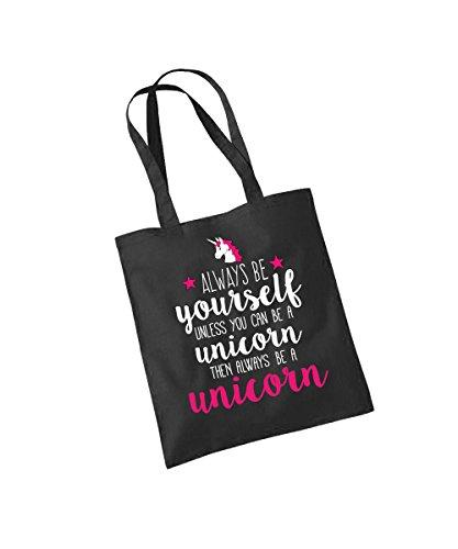 clothinx Einkaufstasche Always be a Unicorn Schwarz