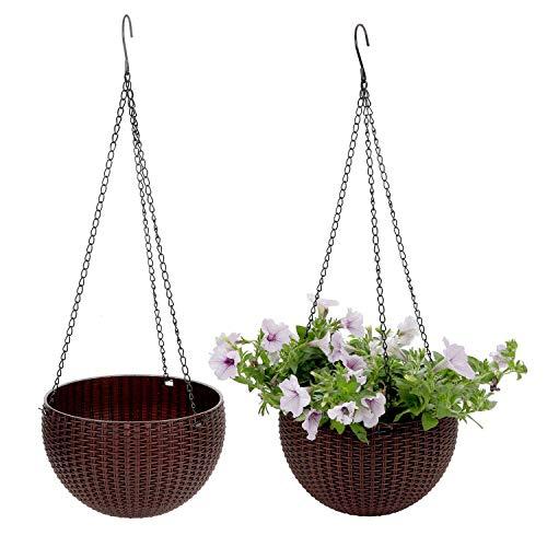 ComSaf Hängepflanztopf Braun Kunststoff Rattan Design Hängeschale für Balkon Hanging Hängeampel Packung mit 2 Pflanzkorb Sphere Blumenampel Moderner Dekorativer Aufhänger-Topf