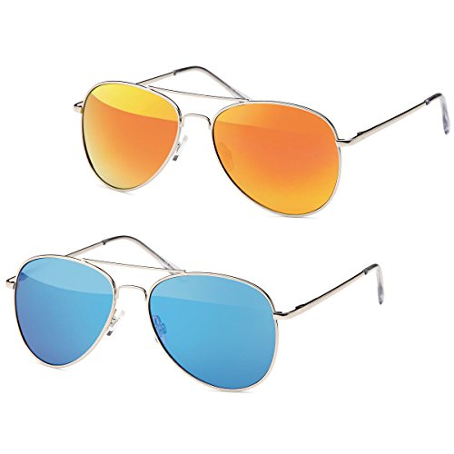 2x Sonnenbrille Pilotenbrille Aviator Unisex Klassiker Sonnen Brille -PL15 (azurrot-blau)
