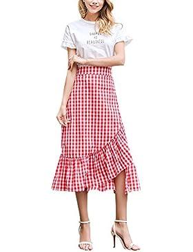 Mujer Falda Larga Verano Maxi Faldas Para Falda de Dobladillo Asimétrico