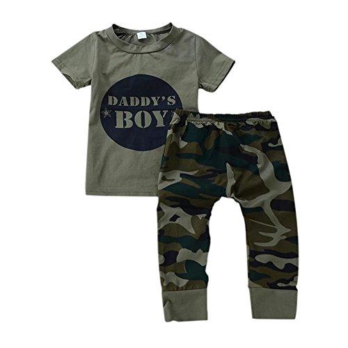 PanDaDa 2 PCs Säugling Baby Jungen Tarnung T-Shirt + Hosen Outfit Sets (Jungen Kleinkind T-shirt Graphic)
