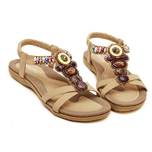 Myfilma ◔◡◔ Damenmode Schuhe im böhmischen Ethno-Stil, farbige Vintage Beaded Flats-Strandsandalen Beaded High Heel Heels
