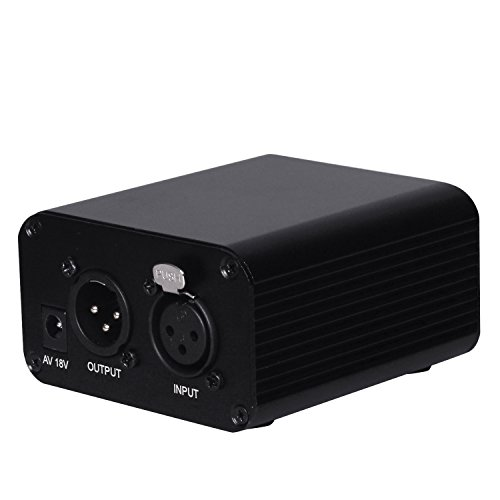 EgoEra® Ein Kanal 48V Phantomspeisung XLR Adapter für Jeder Kondensator Mikrofon Musik Sprachaufzeichnungsgeräte Geräuschunterdrückung