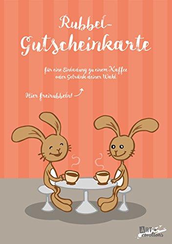 ART + emotions Rubbel- Gutscheinkarte - für eine Einladung zu Einem Kaffee- Überraschungskarte Gutschein Kratzkarte Wunschkarte