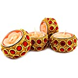 Urvi Creations Set Of 4 Flower Shape Meenakari Work Decorative Candles For Diwali Christmas Home Decor - Multi Color