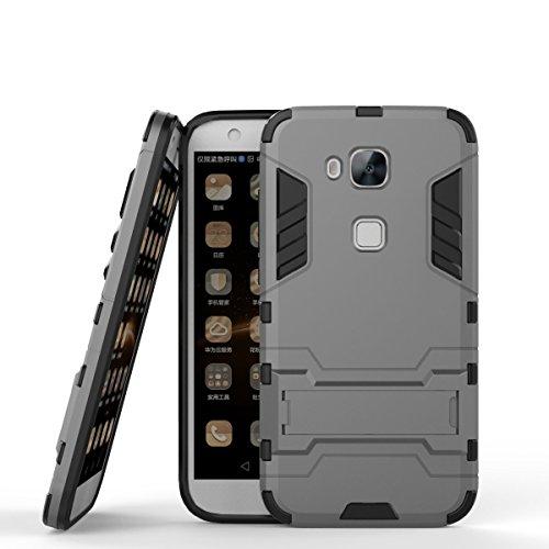 CHcase Huawei G8 Hülle,Huawei GX8 Hülle,Huawei G7 Plus Hülle, Shockproof Rüstung Hybrid 2 In1 TPU und PC Robuste Dual Layer mit Kickstand Case für Huawei G7 Plus/G8/GX8 -Gray