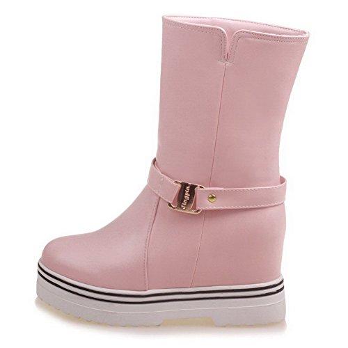 AgooLar Damen Ziehen auf Mittler Absatz PU Rein Niedrig-Spitze Stiefel, Pink, 34