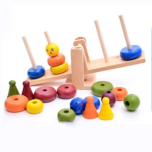 AIOJY Clown Holzwaage einfügen Farbe Stapelturm kleine Ornamente Spielzeug Aufklärung bunte Spielerei Multifunktions Eltern-Kind-Wurf Spielzeug Puzzle-Spiel Regenbogenturm Umweltschutz Bausteine   übe