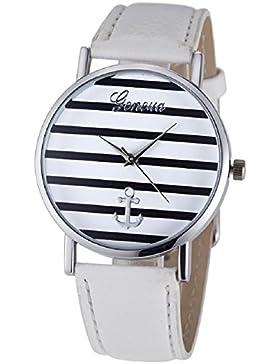 Malloom® Mode Frauen Gestreiftes Anker Analoge Leder Quarz Armbanduhr Silber + Weiß