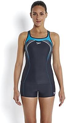 Speedo Fit Tankini Kickback-Bañador para mujer, color oxid grey/acuario/blanco, talla