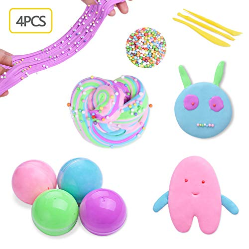 Heegay Fluffy Slime, Fluffy Floam Slime Juguete DIY Creativa Super Suave y No Pegajoso, Alivio de Estres y Perfumado, Juguete Sensorial Juguete Alivio de Estres para Niños y Adultos - 4 Colores