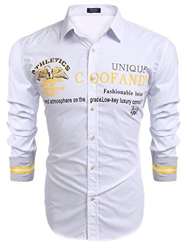 COOFANDY Hemd Herren Langarm Slim Fit mit unterschiedlichen Stickereien Freizeit Party Business Shirt für Männer Weiß XXL (Langarm-hawaii-shirt Weiße)