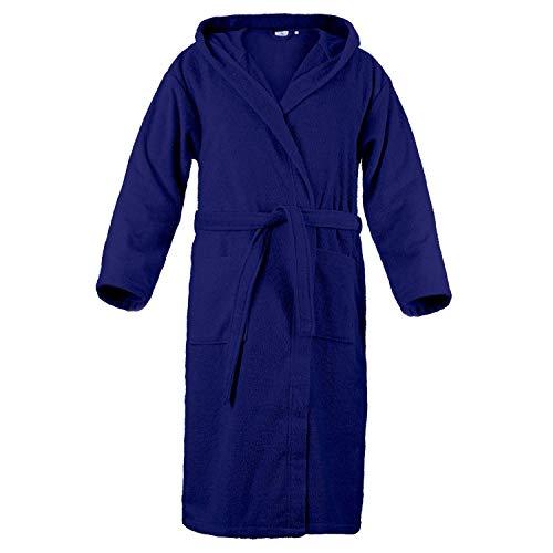 Accappatoio con cappuccio in spugna 100% cotone tinta unita uomo donna unisex (taglia - l, blu)