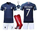VOOA Maillots de Football Enfants de France Soccer Jersey 2018 Coupe du Monde France 2 Étoiles Football T-Shirt et Short Chaussettes (Bleu 7 Griezmann, Tag18)
