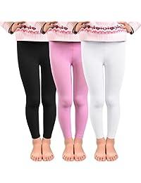 792dc2ca62a59 Vertvie 3 Pcs Enfant Fille Leggings Doublé Polaire Fleece Chaud Hiver Pantalon  Stretch Collant Opaque pour