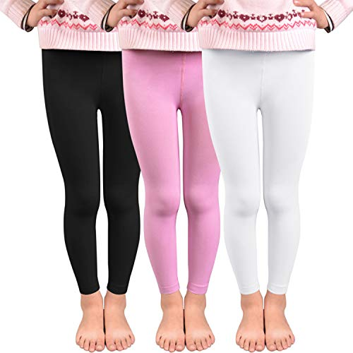 Dihope Kinder Mädchen Winter Thermo Leggings Slim Fit Warm Leggins Dicke Fleece Hosen Einfarbig Strumpfhosen mit Innenfutter 3er Pack