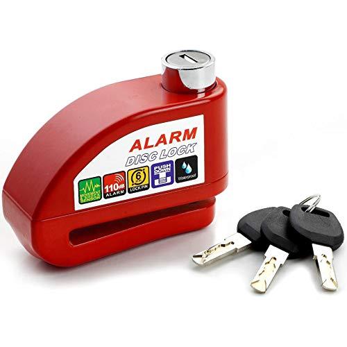 HermosaUKnight Universal Motorrad Roller Fahrrad Alarm Disc Lock Diebstahlsicherung mit 3 Schlüsseln-rot