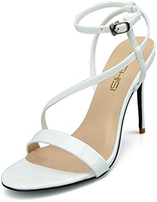 HN Shoes Mujer Estilete Alto Talones Sandalias Tobillo Strappy Mirar furtivamente Dedo del pie Fiesta Zapatillas...