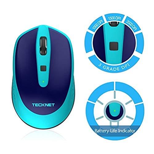 Kabellose Maus TeckNet Omni Mini 2.4G Funkmaus Schnurlose Wireless Mouse, 3 Einstellbare DPI-Pegel: 2000/1500/1000 dPi, 18 Monate Batterielaufzeit, Nano Emfpänger
