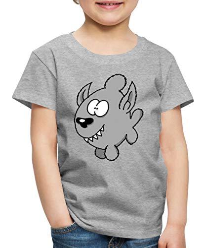 Spreadshirt Ralph Ruthe Werfisch Kinder Premium T-Shirt, 134/140 (8 Jahre), Grau meliert