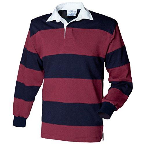 Front Row Herren Genäht Streifen Lange Ärmel 100% Baumwolle Rugby Shirt Halsband Hals Top Gr. Small, Burgunderrot/Marineblau (Streifen Rugby Lange Ärmel)