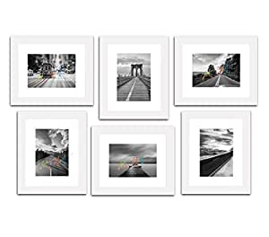 """Art Street Decorative Premium Set of 6 Individual Wall Photo Frame (6"""" X 8"""" Picture Size matted to 4"""" x 6"""") - Copper"""