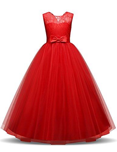 NNJXD Robe de Soirée de Mariage en Tulle de Dentelle pour Les Filles et Robe de Princesse Taille(150) Rouge pour Les Filles de 9-10 Ans ...