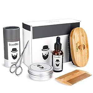 Beard Grooming Kit Mens Gifts Set - Unscented Beard Oil + Beard Balm Wax + Beard Care Brush + Beard Comb + Beard Scissors - Perfect Gift Kit