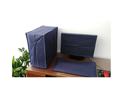 3 Pieces Suit Computer Dust Cover,Monitor + Keyboard + CPU 22'' Monitor Set (53W x 36H x 7D) (Navy Blue)
