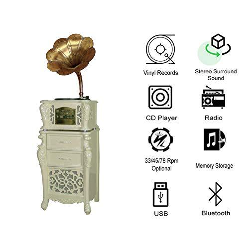 GOM Plattenspieler Bluetooth Holz, 3-Speed Turntables, Eingebaut Stereo HiFi Audio Lautsprecher-Systeme, Cinch-Ausgang, Unterstützung CD-Spieler, Radio, USB-Anschluss (Color : White) - Turntable Stereo System