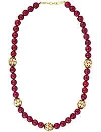 Deara Ethnic Maroon Jade Stone, Jadau Pearl Beaded And Gold Plated Kundan Necklace For Women And Girls