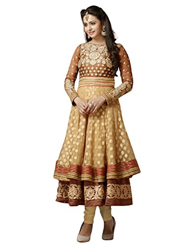 Fliponn Beige & Brown Color Party Wear Embroidered Net & Georgette Semi-Stitched Anarkali Suit-FNI116DL2064  available at amazon for Rs.3419