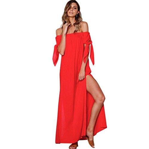 Kleid Damen,Binggong Mode Frauen Sommer Pure Slash Neck Bow Abendkleid Bodenlangen Maxi Kleid Elegant Kleider Damen Sommer Abendkleider Ein Kragen (M, Rot)