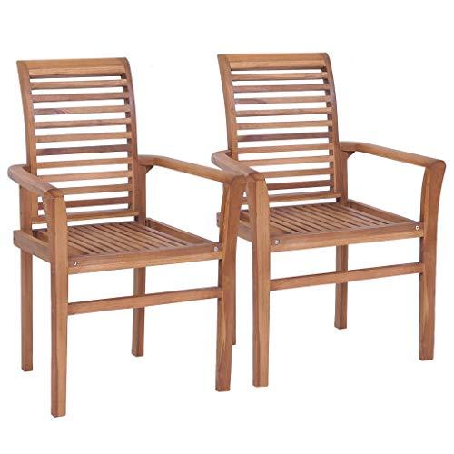 Küche Holz-finish Stuhl (Festnight- 2er Set Stapelbar Esstischstühle Garten Holzstuhl Essstuhl für Garten,Terrasse,Esszimmer Teak Massivholz)