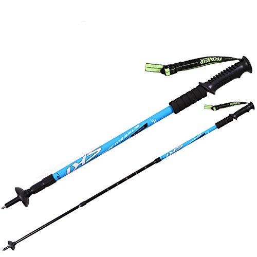 Lanlan Trekking Polen Stoßdämpfung langlebiges Aluminium Sticks für Outdoor Wandern Trekking Klettern 2, blau Leki Trekkingstock Körbe