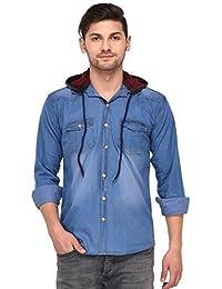 Lafantar Men's Double Pocket Denim Shirt With Hood - dms82g