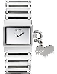 Moschino MW0072 - Reloj analógico de mujer de cuarzo con correa de acero inoxidable plateada