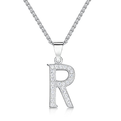 Sólo Jo Plata de ley inicial 'R' y Circonita Cúbica Letra Colgante en 41–46cm cadena de Spiga
