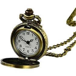 Finejo Retro Bronze Steampunk Quartz Pocket Watch Pendant Chain Clock