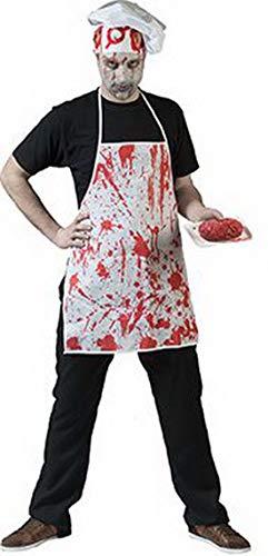 erdbeerclown - Kostüm Accessoires Zubehör Blutige Metzger Koch Schürze, Bloody Butcher Cook Apron, perfekt für Halloween Karneval und Fasching, Weiß