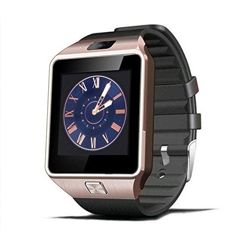 gezichta dz09Bluetooth Smart Watch mit SIM Card Slot Telefonieren Support SIM TF Karte Armbanduhr, für Android iOS Samsung S5/Note 2/3/4, Nexus 6, HTC, LG Sony, Huawei und andere Android Smartphones, gold