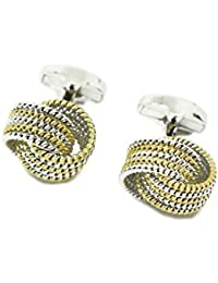 Love Knot Cufflinks Set For Men - Silver And Gold Whale Back Mens Cufflinks