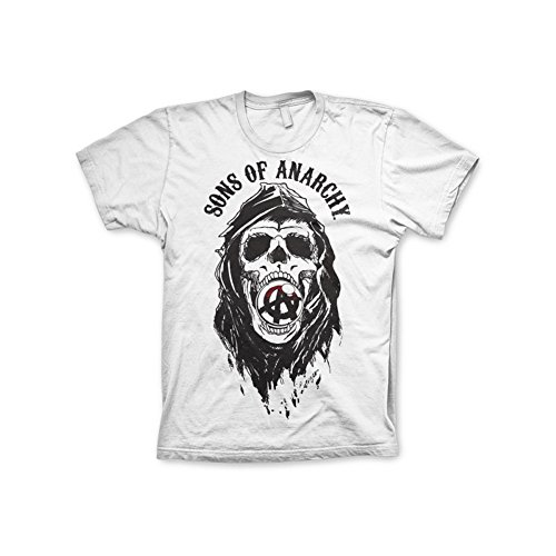 Offizielles Sons Of Anarchy Draft Skull 3XL,4XL,5XL Herren T-Shirt (Weiß) Weiß