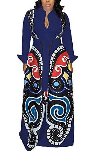 LKOUS Damen Jumpsuit mit kurzen Ärmeln und hoher Taille - blau - Groß