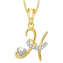 Amaal Valentine Gifts Gold American Diamond Alphabet Letter 'H' Necklace Pendant for Women Girls Boys Men with Chain PS0327