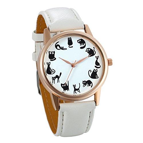 JewelryWe Damen Armbanduhr, niedliche kleine Cartoon Katze Kätzchen Analog Quarz Elegant Uhr Quarzuhren mit Leder Armband, Farbe: Weiß (Niedliche Kätzchen Auch)