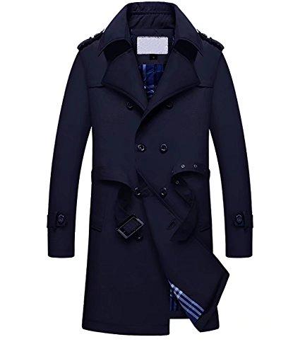 Homme trench coat double boutonnage veste décontractée noir Caban courroie