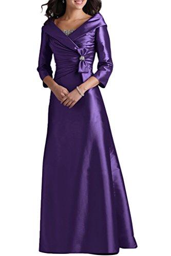 Ivydressing Damen Liebling 3/4 Aermel V-Ausschnitt A-Linie Lang Taft Abendkleid Mutterkleid Festkleid Abendkleid Violett