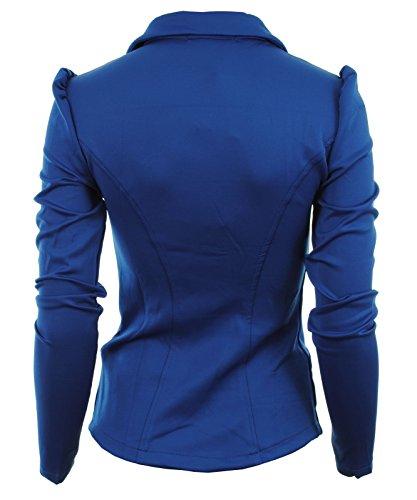 Gracious Girl Mardela Blazer pour femme Devant 5 boutons et épaules prononcées Bleu Royal